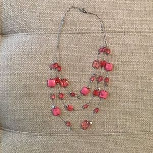 Silver 3 Strand Pink Beaded Necklace